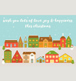 village in winter with snowfall decorate with mis vector image vector image