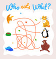 who eats what maze labyrinth template vector image vector image