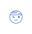 winking chinese emoji line icon concept winking vector image vector image