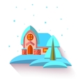 with cute house in flat style vector image vector image