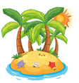 An island with coconut trees vector image vector image