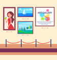 art gallery exhibition with pictures hang on wall vector image