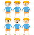 Boy with different faces and emotions vector image vector image