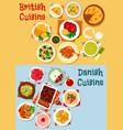 british and danish cuisine icon set design vector image vector image