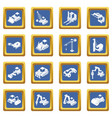 building materials icons set blue square vector image vector image