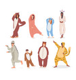 cartoon color characters people in pajamas concept vector image vector image