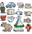 cartoon of a set of funny small drawings or icons vector image vector image