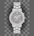 chronograph watch for men silver diamond vector image vector image