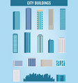city buildings houses and skyscrapers set flat vector image