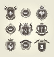 coat of arms and knight blazons - heraldic shields vector image vector image