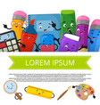 cute cartoon stationery banner template vector image vector image