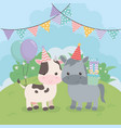 cute hors and cow in birthday party scene vector image vector image