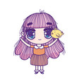 cute little girl anime cartoon with chicken vector image