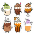 different types coffee drinks cartoon vector image vector image