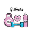 dumbbell with heartbeat and bottle of water vector image vector image