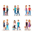 fathers and mothers with kids vector image