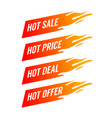 flat promotion fire banner price tag hot sale vector image vector image