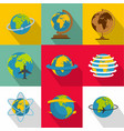 global map icons set flat style vector image vector image