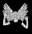 hand drawn young girl behind bars with wings vector image