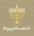happy hanukah calligraphic wth menorah vector image