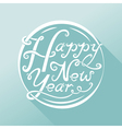 Happy New Year hand drawn lettering design on blue vector image vector image