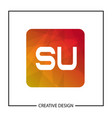 initial letter su logo template design vector image
