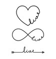 live - word with infinity symbol hand drawn heart vector image vector image