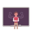 Man against the blackboard with drawn strong arms vector image