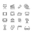 movie and cinema line icons set for vector image
