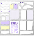 paper collection different torn pieces shapes vector image