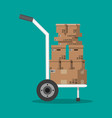 pile cardboard boxes on a hand truck vector image vector image
