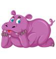 pink rhinoceros on white background vector image