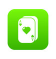 poker cards icon green vector image vector image