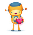 robot with heart vector image
