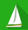 sailing boat icon flat style vector image vector image