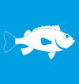 sea bass fish icon white vector image vector image
