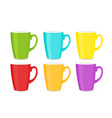 set bright colorful cups vector image vector image