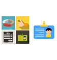set of economic icons included bill form hand vector image vector image