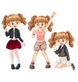 set of fashionable girl vector image