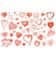 set of hearts doodle valentine love symbol vector image vector image