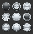 Silver metal chrome buttons set vector image vector image