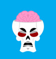 skull and brain angry emoji skeleton head grumpy vector image vector image