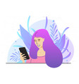smiling woman with purple hair in pink clothes vector image vector image