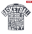 T-shirt sports symbols of basketball with vector image
