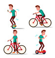 teen boy riding hoverboard bicycle city vector image