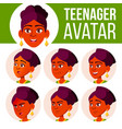 teen girl avatar set face emotions vector image