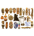 traditional african culture attributes isolated on vector image