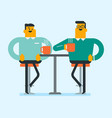 two caucasian white friends drinking coffee vector image