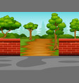 view of the dirt road to the forest vector image
