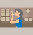 woman using a spray inhaler to stop asthma attack vector image vector image